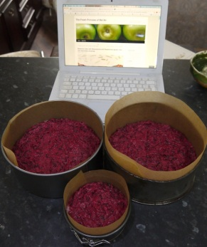 Two halves of the beetroot cake before baking, with a small 'sampler'